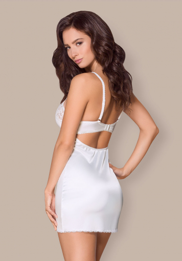 Nuisette blanche et string - 871-CHE-2 - color: Blanc