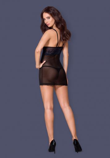 Nuisette élégante & string - 866-CHE-1 - color: Noir