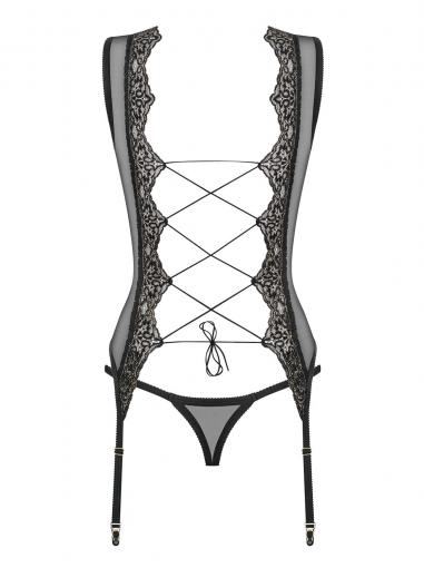 Meshlove  - Corset et string transparent - color: Noir